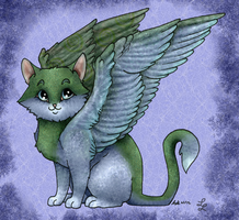 Winged kitty Collab by LunarLotis