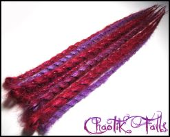 Wrappy Cherry Red and Orchid Synthetic Dreads by ChaotikFalls