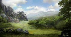 mountain village by K-Lao