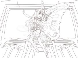 Hightech fairy Commish Lineart by iamniquey