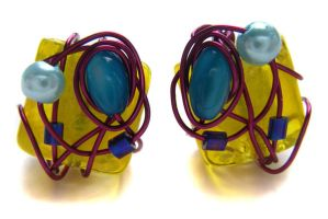 Yellow wire wrapped earrings by fairy-cakes