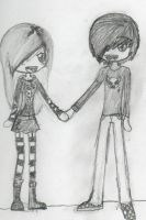 Chibi Emo Couple by rockerXwoobi