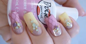 Spring Inspired Jeweled Nail Art by TenLittleCanvases