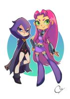 Raven and Starfire by ShadeShark