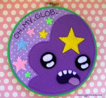 Lumpy Space Princess OH MY GLOB Embroidery Hoop by iggystarpup