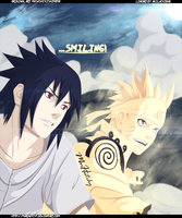 Naruto 641: Naruto and Sasuke Smile by MarHutchy