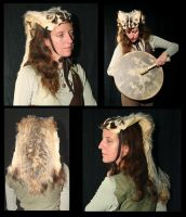 American badger headdress by lupagreenwolf