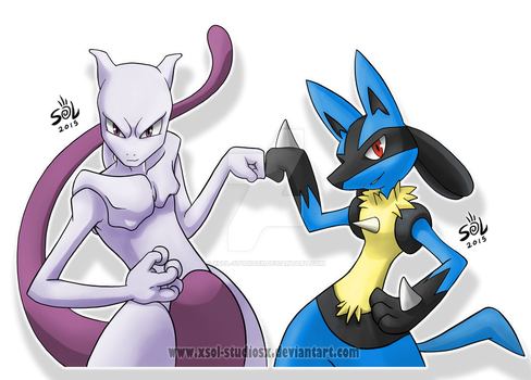 Mewtwo and Lucario BROS!! by XSol-StudiosX