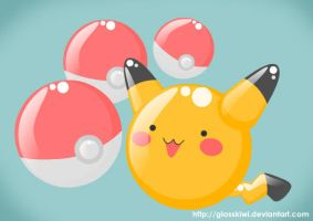 Pikachu With Pokeballs by glasskiwi