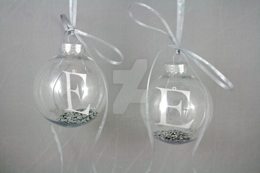 Double E Personalised Papercut Initial Baubles by ladysilver2267