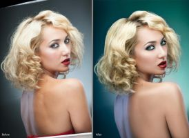 Before after blondy retouch by Kri3X