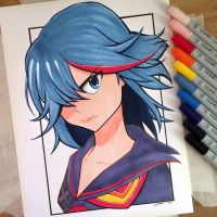 Ryuko Matoi - Copic Marker Drawing by LethalChris