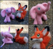 Needle Felted Elephant and Fox by SnowFox102