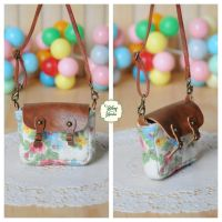 Vintage Floral Bag with brown leather flap by sakyachan