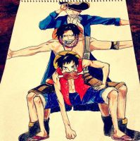 luffy, ace, sabo by queentinkerbeth