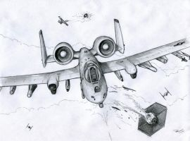A-10 vs TIE Fighters by RobtheDoodler