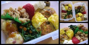 Wednesday Bento + Fluffy Eggs by sake-bento