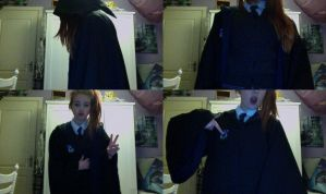 Showing off my Ravenclaw robe and cardigan by MicheSpade