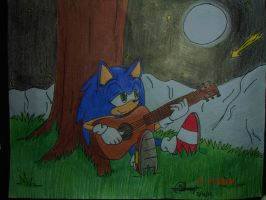 Sonic_Playing_His_Guitar_In_The_Moon_Light by Sonar15