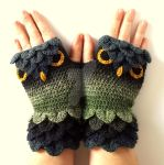 Dark Forest Owl Gloves by FearlessFibreArts