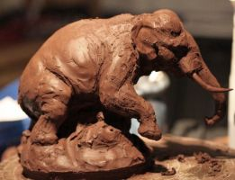 indian elephant roughed out by Sculptor-Robert-D