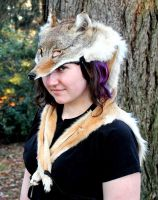 Brown Coyote Headdress by lupagreenwolf