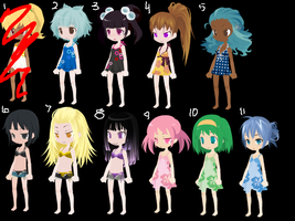Summer Theme: Free Adopts 5 ~CLOSED/MOVED~ by LatraiLovesAnime2