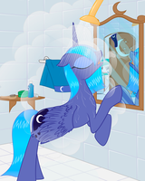 Princess Luna in a bathroom. by Rusilis