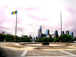 philly skyline from museum by jweb3d