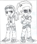 Huey and Riley (P and S style) Lineart by uber-neko