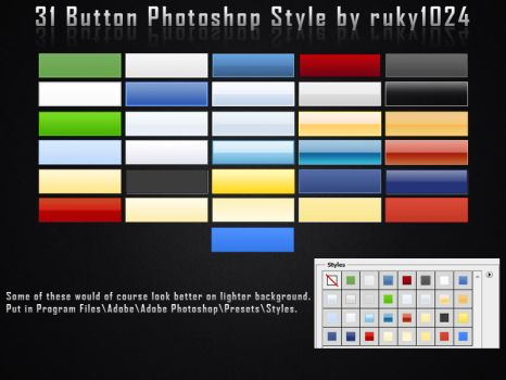 31 Button Photoshop Styles by ruky1024