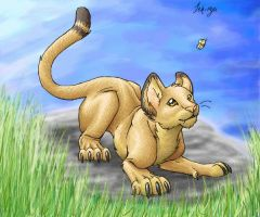 Lion and Butterfly by DragonessBahamut