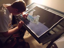 Me working with  chalk pastels by dingbat47