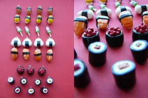 Sushis charms by Mangopearl