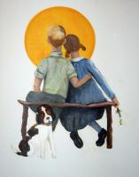 Rendition of Norman Rockwell's  iconic picture by bwall49
