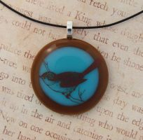 Little Bird Fused Glass Pendant by FusedElegance