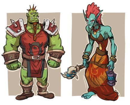 Male orc and female troll by Silsol
