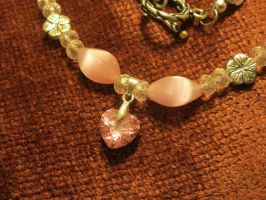 Pink Heart Necklace Closeup 1 by Windthin
