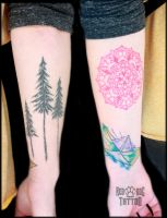 Watercolor PaperBoat, Pines and Red Mandala Tattoo by Reddogtattoo