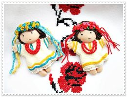 small brooches - Ukrainian girls by IrenkaR