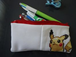 Cross stitch Pikachu pencil bag by Miloceane