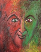 Red and Green face by VESAPELTONEN