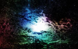 Oh look, rainbow clouds in space by Faybro
