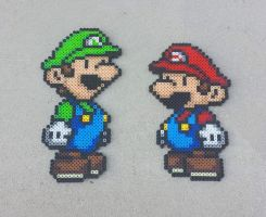 Paper Mario Bros - Super Mario Perler Bead Sprites by MaddogsCreations