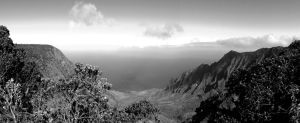 Kalalau Valley BW by ldjessee