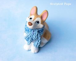 Husky puppy with blue scarf sculpture by SculptedPups