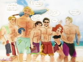 Avengers go to the beach! -Old Account Art by AreLei