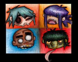 Gorillaz- Heads in Pencil by Veleven