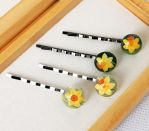 Yellow daffodils. Hairpins with hand painted by HappyGlassJewelryArt