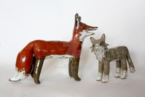 Fox and cat stonware by Bjirf